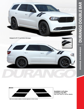 DURANGO DOUBLE BAR: 2011-2020 Dodge Durango Hood Hash Mark Vinyl Graphics Accent Decal Stripe Kit
