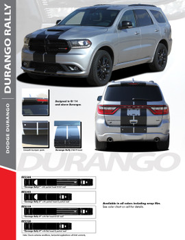 DURANGO RALLY : 2014-2020 Dodge Durango Hood Racing Stripes Vinyl Graphics Accent Decal Kit