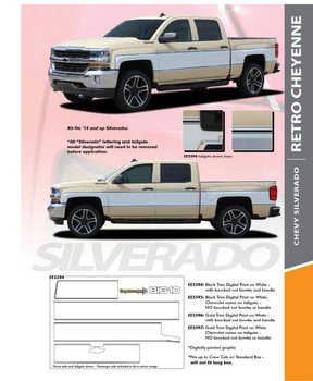 RETRO CHEYENNE : 2014-2018 Chevy Silverado Mid Body Line Accent Rally Side Vinyl Graphic Decal Stripe Kit