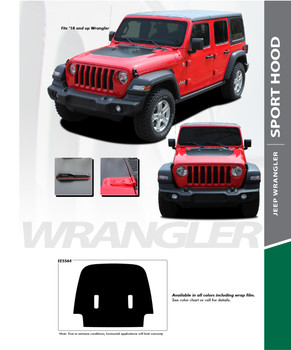 SPORT HOOD : 2018-2020 Jeep Wrangler Hood Blackout Vinyl Graphics Decal Stripe Kit