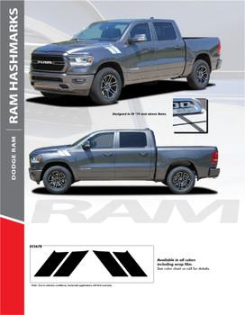 RAM HASHMARKS : 2019-2020 Dodge Ram Hood Double Bar Blackout Vinyl Graphics Stripe Decal Accent Kit