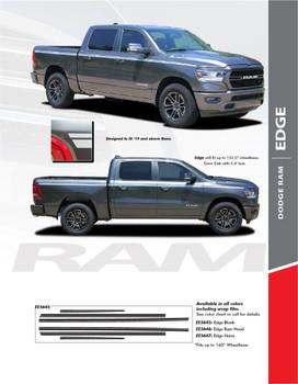 RAM EDGE : 2019-2020 Dodge Ram Upper Body Stripes Side Door Decals Vinyl Graphics Accent Kit