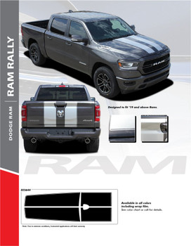 RAM RALLY : 2019-2020 Dodge Ram Racing Stripes Full Hood Rally Stripes Decals Vinyl Graphics Accent Kit