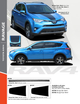RAVAGE : 2016 2017 2018 2019 Toyota RAV4 Hood and Sides Body Accent Trim Vinyl Graphic Striping Decal Kit (PDS-5789)