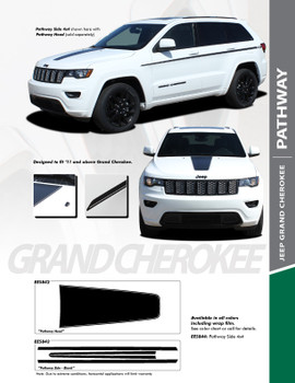 PATHWAY SIDES : 2011-2019 Jeep Grand Cherokee Upper Body Line Accent Vinyl Graphics Decal Stripe Kit