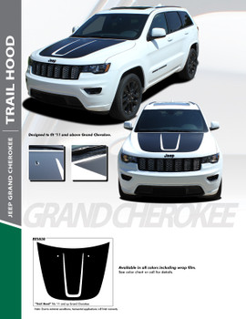 TRAIL HOOD : 2011-2020 Jeep Grand Cherokee Hood Blackout Accent Vinyl Graphics Decal Stripe Kit