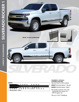 SILVERADO ROCKER 1 : 2019-2020 Chevy Silverado Lower Rocker Panel Stripe Striping Vinyl Graphic Decal Kit