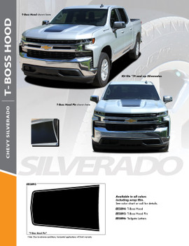 T-BOSS : 2019-2020 Chevy Silverado Trail Boss Hood Decal Stripe Vinyl Graphic Kit