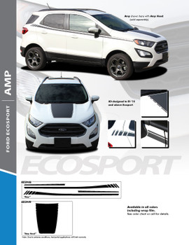 AMP : 2013-2020 Ford EcoSport Center Hood Vinyl Graphics and Side Door Decal Stripe Kit