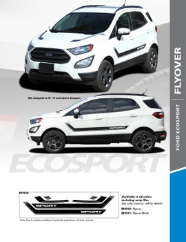 FLYOVER : 2013-2020 Ford EcoSport Center Hood Vinyl Graphics and Side Door Decal Stripe Kit