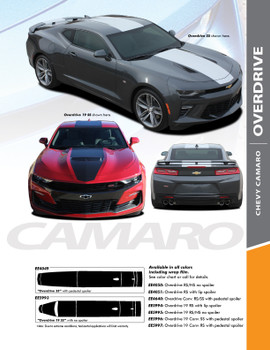 OVERDRIVE 19 : 2019-2020 Chevy Camaro Center Wide Hood Racing Stripes Rally Vinyl Graphics and Decals Kit fits SS RS V6 Models (PDS-5993)