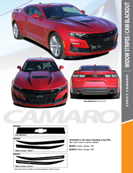 WIDOW STRIPES : 2019-2020 Chevy Camaro Hood Spear Stripes Decals Vinyl Graphics Kit (PDS-5989)