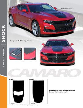 SHOCK : 2019-2020 Chevy Camaro Center Hood Blackout Decal Vinyl Graphics Kit (PDS-5986)