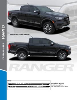 RAPID : 2019 Ford Ranger Rocker Panel Stripes Decals Vinyl Graphics Stripe Kit
