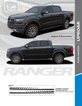 UPROAR : 2019 Ford Ranger Body Door Accent Stripes Decals Vinyl Graphics Stripe Kit