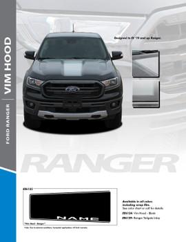 VIM HOOD : 2019 Ford Ranger Center Hood Stripes Decals Vinyl Graphics Stripe Kit