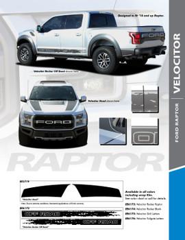VELOCITOR : 2018-2020 Ford Raptor Rocker Panel Stripes and Hood Decals Vinyl Graphics Stripe Kit (PDS-5719)