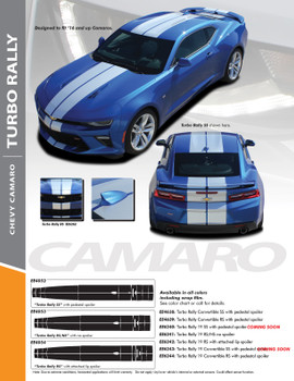 TURBO RALLY 19 : 2019-2020 Chevy Camaro Bumper to Bumper Racing Stripes Rally Vinyl Graphics and Decals Kit fits SS RS V6 Models (PDS-6240)