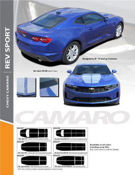 REV SPORT : 2019-2020 Chevy Camaro Hood Racing Stripes Vinyl Graphics and Decals Kit fits SS RS V6 Models (PDS-6227)