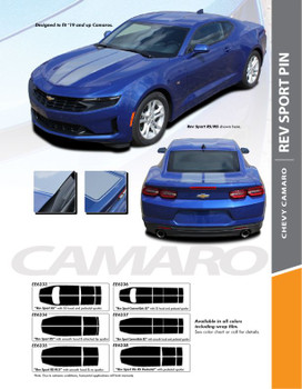 REV SPORT PIN : 2019-2020 Chevy Camaro Hood Racing Stripes Vinyl Graphics and Decals Kit fits SS RS V6 Models (PDS-6233)