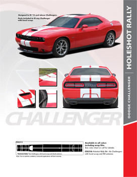 HOLESHOT RALLY 15 : 2015-2019 Dodge Challenger RT GT HELLCAT Factory OEM Style Vinyl Graphic Racing Rally Decal Stripe Kit