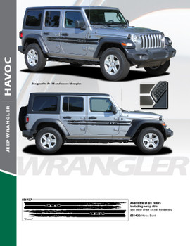 HAVOC : 2018-2020 Jeep Wrangler Side Door Vinyl Graphics Decal Stripe Kit (PDS-6427)