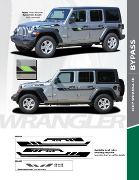 BYPASS : 2018-2020 Jeep Wrangler Side Door and Side Hood Vinyl Graphics Decal Stripe Kit (PDS-6429)
