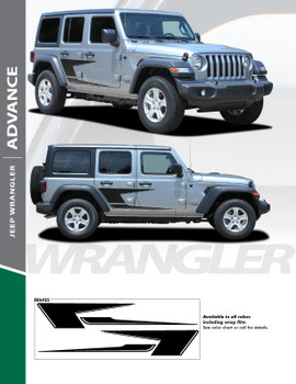 ADVANCE : 2018-2020 Jeep Wrangler Side Vinyl Graphics Decal Stripe Kit (PDS-6425)