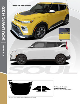 SOULPATCH 20 : 2020 Kia Soul Hood Decal and Rear Body Accent Vinyl Graphics Decal Stripe Kit