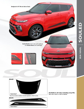 SOULED : 2020 Kia Soul Lower Rocker Panel and Hood Accent Vinyl Graphics Decal Stripe Kit