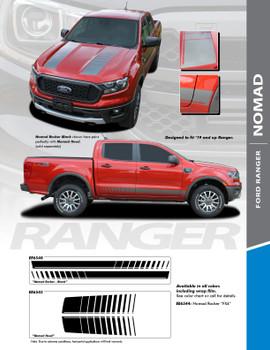 NOMAD : 2019 2020 Ford Ranger Hood and Rocker Stripes Decals Vinyl Graphics Stripe Kit (PDS-6548-6545)