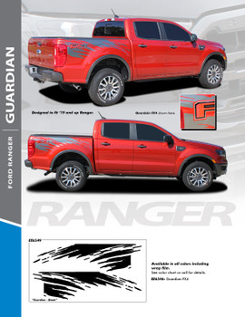 GUARDIAN : 2019 2020 Ford Ranger Bed Stripes Decals Vinyl Graphics Stripe Kit (PDS-6549)