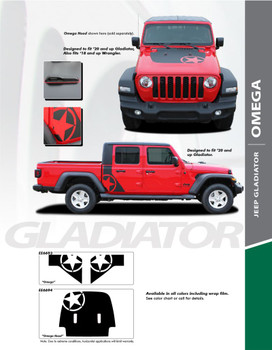 OMEGA : 2020, 2021 Jeep Gladiator Hood Decal and Side Body Star Decals Vinyl Graphics Stripe Kit