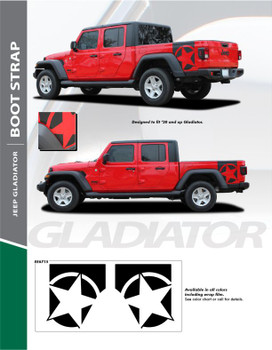 BOOTSTRAP : 2020 Jeep Gladiator Decal and Side Body Star Decals Vinyl Graphics Stripe Kit (PDS-6715)