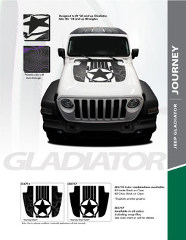 JOURNEY : 2020 Jeep Gladiator Hood Decal Star Decals Vinyl Graphics Stripe Kit (PDS-6716)