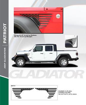PATRIOT : 2020 Jeep Gladiator Side Body Decal Vinyl Graphics Stripe Kit (PDS-6714)