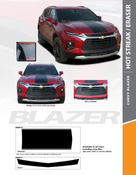 HOTSTREAK and ERASER : 2019-2020 Chevy Blazer Hood and Bumper Vinyl Graphic Decal Stripe Kit (PDS-6814)