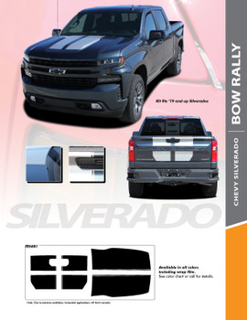 BOW RALLY : 2019-2020 Chevy Silverado Hood and Tailgate Racing Stripe Decals Vinyl Graphic Kit