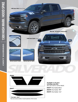 1500 HOOD SPIKE : 2019-2020 Chevy Silverado Hood Spikes Stripe Decals Vinyl Graphic Kit