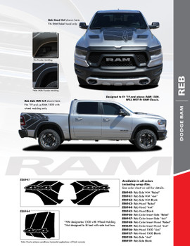 REB : 2019-2021 Dodge Ram Rebel and 1500 Hood Decals and Side Body Bed Stripes Vinyl Graphics Accent Kit (PDS-6940)