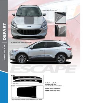 DEPART: 2020-2021 Ford Escape Center Hood Vinyl Graphics or Side Door Decal Stripe Kit