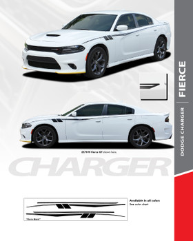 FIERCE : 2015-2020 Dodge Charger Upper Body to Rear Quarter Panel Sides Vinyl Graphic Decals Stripe Kit