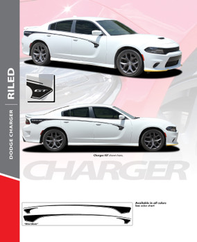 RILED : 2015-2020 Dodge Charger Upper Body Rear Quarter Panel to Door Sides Vinyl Graphic Decals Stripe Kit