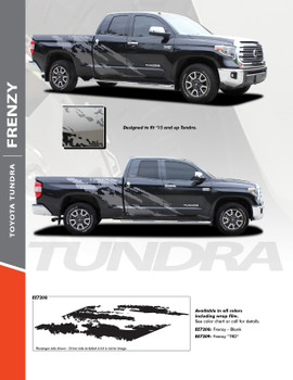 FRENZY : 2015-2021 Toyota Tundra Side Body Vinyl Graphics Splash Decal Design Stripe Kit
