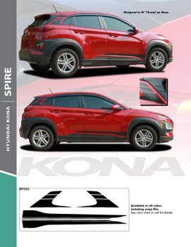 SPIRE : 2018-2021 Hyundai Kona Lower Door Accent and Rear Upper Vinyl Graphic Stripes Decal Kit