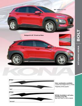 BOLT : 2018-2021 Hyundai Kona Upper Door Accent Vinyl Graphic Stripes Decal Kit