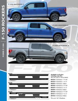 F-150 ROCKER THREE : 2015-2021 Ford F-150 Lower Door Rocker Panel Stripes Vinyl Graphic Decals Kit