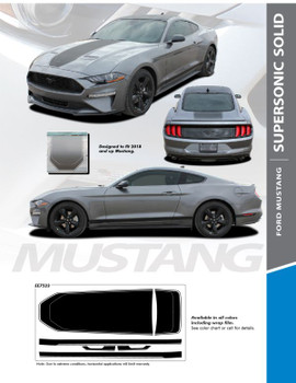 SUPERSONIC : 2021 Ford Mustang Stripes Mach 1 Style Center Wide Racing Stripes Vinyl Graphics Kit