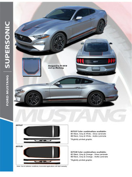 SUPERSONIC (DIGITAL PRINT) : 2021 Ford Mustang Stripes Mach 1 Style Center Wide Racing Stripes Vinyl Graphics Kit