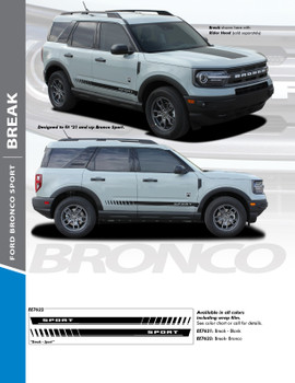 BREAK : 2021+ Ford Bronco Sport Body Stripes Decals Vinyl Graphics Stripe Kit (PDS-7622)